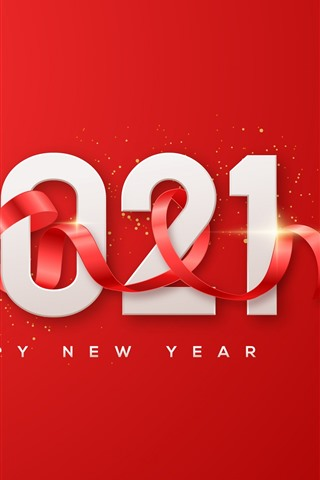 iPhone Wallpaper Happy New Year 2021, red background, ribbon