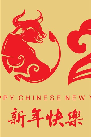 iPhone Wallpaper Happy New Year 2021, red style, year of ox