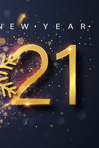 iPhone Wallpaper Happy New Year 2021, snowflake, shine, golden