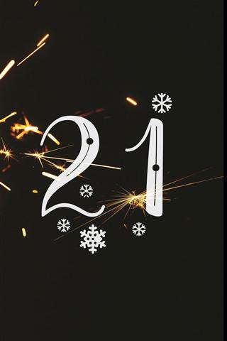 iPhone Papéis de Parede Feliz Ano Novo 2021, faíscas, brilhe