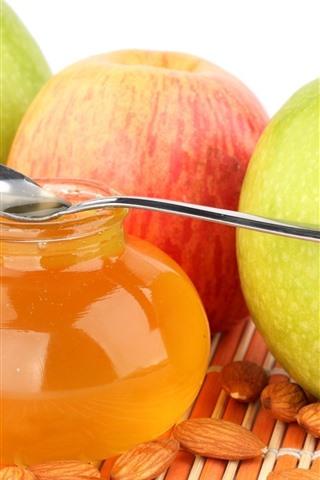 iPhone Wallpaper Honey, three apples, nuts