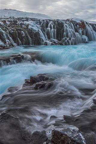 iPhone Wallpaper Iceland, waterfall, stream, water, rocks, snow