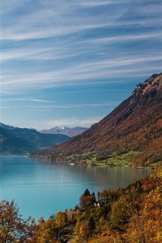 iPhone Wallpaper Lake, mountains, trees, village, autumn