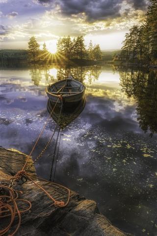 iPhone Wallpaper Morning, lake, boat, trees, sunrise, clouds