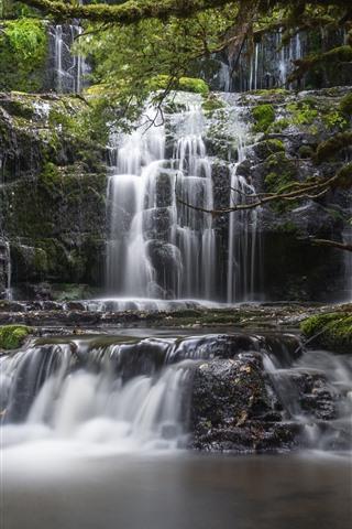iPhone Wallpaper New Zealand, Purakaunui Falls, waterfalls
