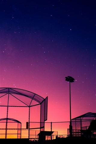 iPhone Wallpaper Night, glass building, stars, purple sky