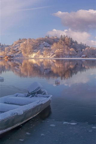 iPhone Wallpaper Norway, Rogaland, river, snow, boat, mountains, winter