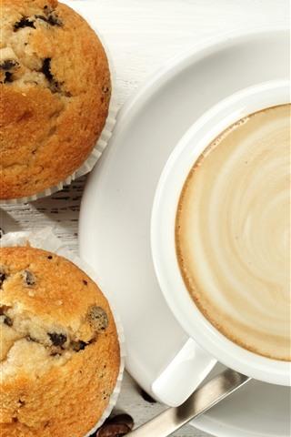 iPhone Обои Одна чашка кофе, кексы, еда