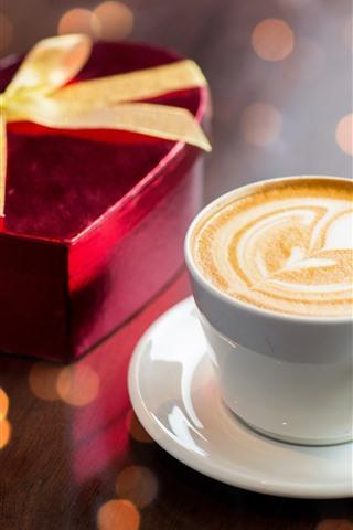 iPhone Papéis de Parede Uma xícara de café, coração de amor, presente, romântico