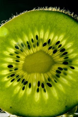iPhone Wallpaper One slice green kiwi, texture