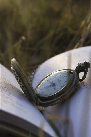 iPhone Wallpaper Pocket watch, grass, book