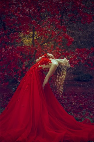 iPhone Wallpaper Red skirt blonde girl, pose, red maple leaves, autumn
