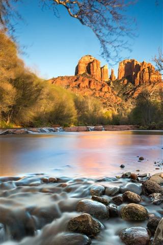 iPhone Wallpaper Rocks mountain, trees, stones, lake, autumn