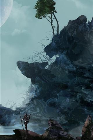 iPhone Papéis de Parede Rochas, árvores, lua, noite, imagem artística