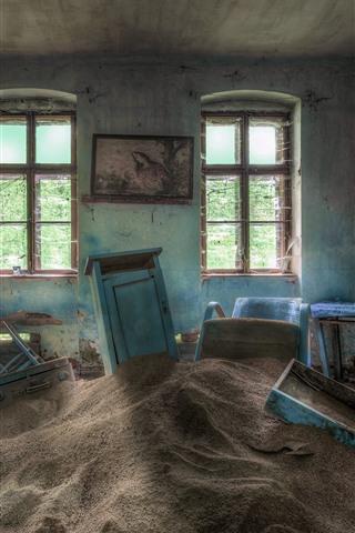 iPhone Обои Комната, пески, окно, грязь