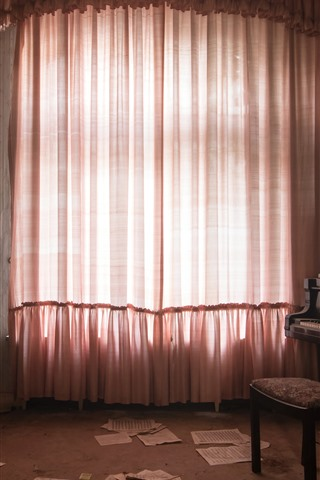 iPhone Wallpaper Room, window, curtain, piano, dust