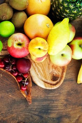 iPhone Hintergrundbilder Einige Früchte, Apfel, Banane, Zitrone, Kiwi, Kirsche
