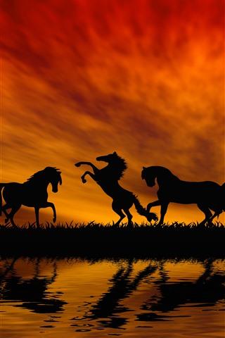 iPhone Papéis de Parede Alguns cavalos, silhueta, grama, rio, água, pôr do sol, céu vermelho