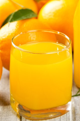 iPhone Обои Некоторые апельсины, напитки, стеклянная чашка