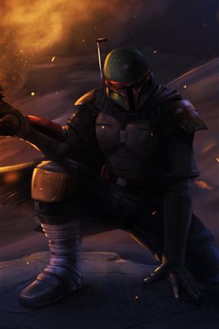 iPhone Papéis de Parede Star Wars, guerreiro, arma, imagem artística