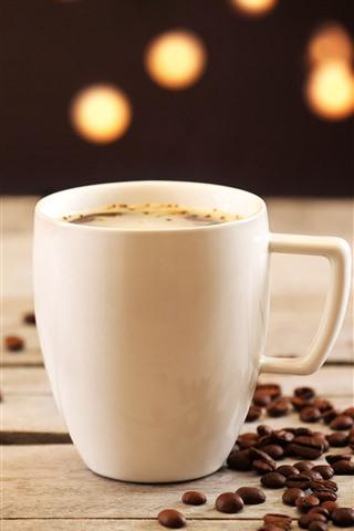 iPhone Papéis de Parede Xícara branca, café, grãos de café, nebuloso