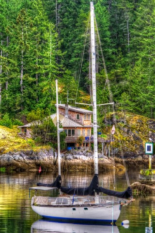 iPhone Wallpaper Yacht, trees, house, lake, HDR style