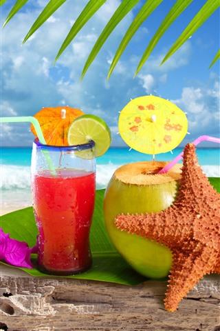 iPhone Wallpaper drinks, cocktail, starfish, green leaves, beach, sea