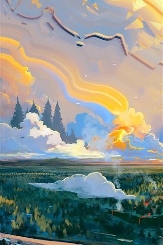 iPhone Papéis de Parede Pintura artística, montanha, nuvens, lua, árvores