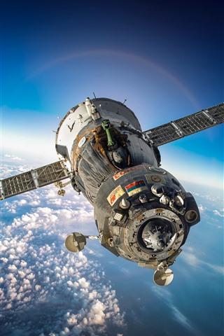 iPhone Papéis de Parede Satélite artificial, nave espacial, espaço, terra, lua