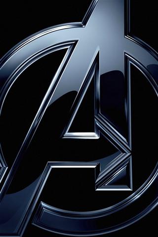iPhone Обои Мстители, логотип, черный фон