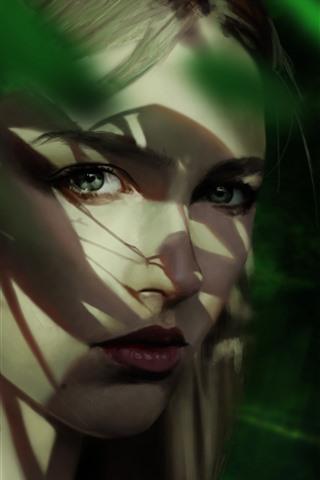 iPhone Papéis de Parede Retrato de menina loira, aparência, rosto, sombra, imagem artística