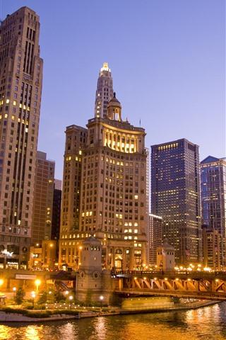 iPhone Обои Чикаго, небоскребы, мост, река, огни, ночь, США