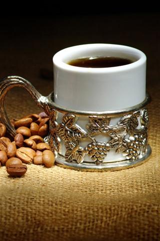 iPhone Papéis de Parede Grãos de café, xícara de café