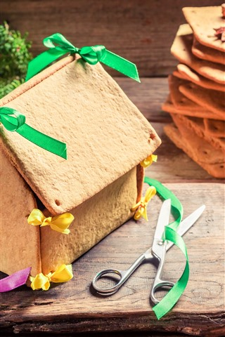 iPhone Wallpaper Cookie house, ribbon, scissors, Christmas