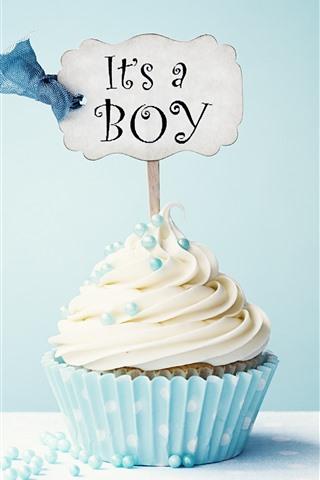 iPhone Wallpaper Cupcake, cream, inscription, blue background