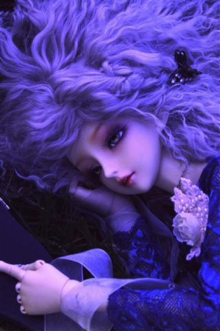 iPhone Wallpaper Doll, toy, girl, hairstyle, grass