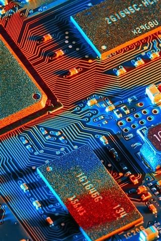 iPhone Обои Электронные компоненты, микропроцессор, плата PCB