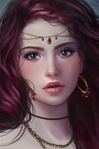 iPhone Papéis de Parede Garota fantasia, olhos roxos, brincos