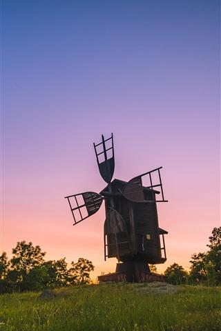 iPhone Wallpaper Finland, windmill, trees, grass, sunset