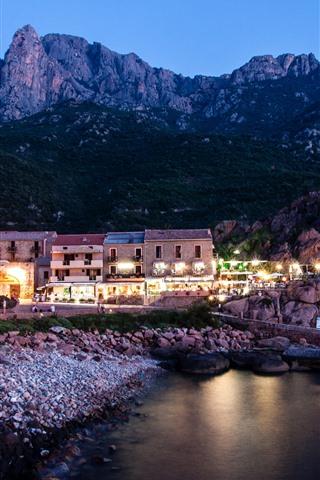 iPhone Wallpaper France, Corsica, houses, lights, night, sea