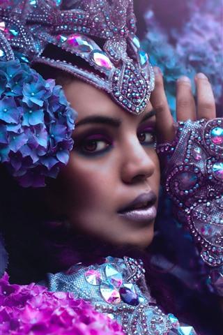 iPhone Papéis de Parede Menina, rosto, aparência, decoração, maquiagem, hortênsia, flores