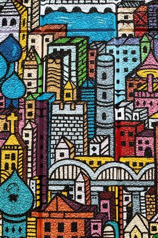 iPhone Обои Граффити, стена, город, здания, живопись, красочный
