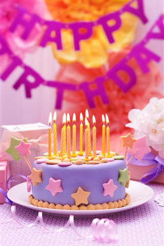 iPhone Wallpaper Happy Birthday, cake, candle, gift, windmill