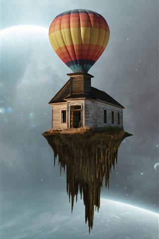 iPhone Обои Воздушный шар, дом полета, планеты, творческая картина