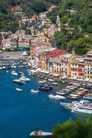 iPhone Wallpaper Italy, Portofino, bay, sea, boats, yachts, houses