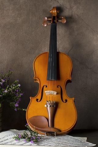 iPhone Wallpaper Little flowers, basket, violin, music