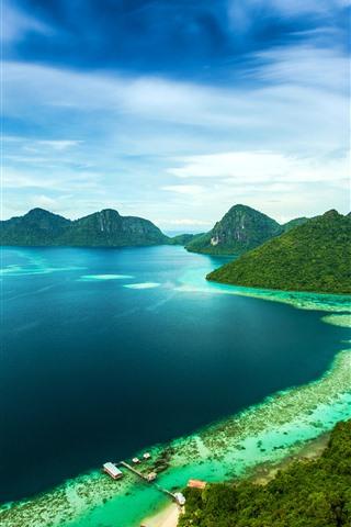 iPhone Wallpaper Malaysia, mountains, island, sea, coast, pier