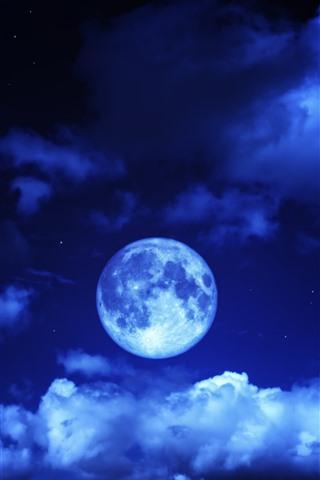 iPhone Papéis de Parede Lua, céu, nuvens, azul, noite