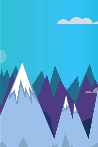 iPhone Hintergrundbilder Berge, Sonne, Vektorbild