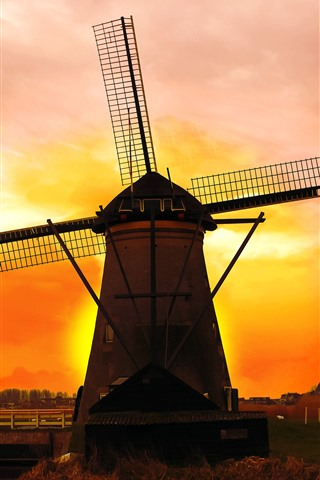 iPhone Wallpaper Netherlands, windmill, sunset, red sky